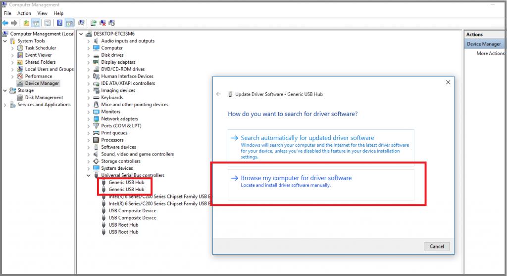 generic usb hub - usb device not recognized error fix
