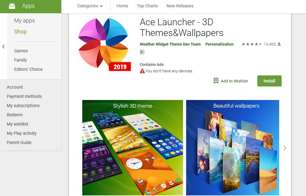 ace launcher - best themes for android