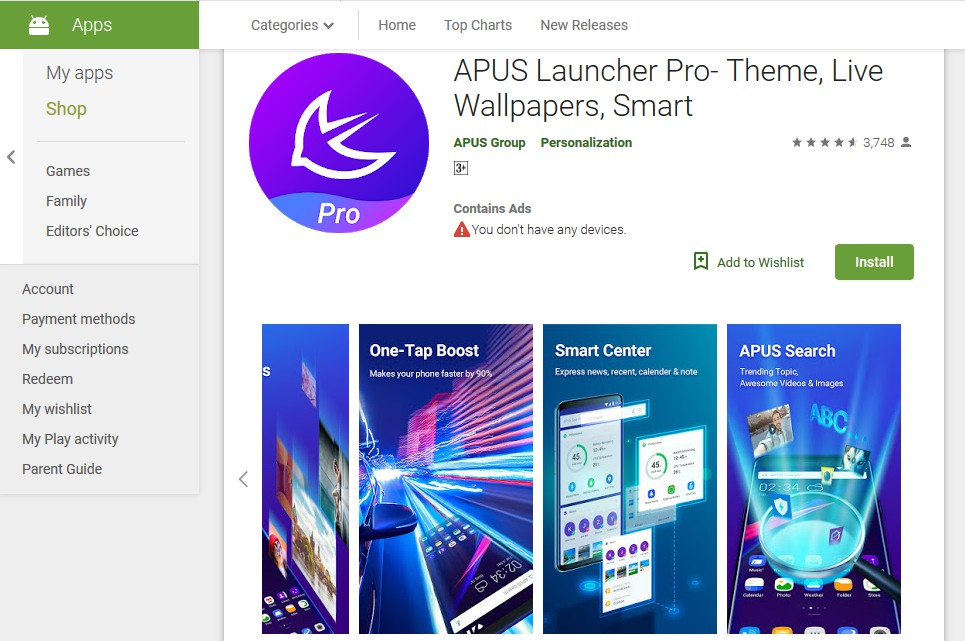 apus launcher - best themes for android