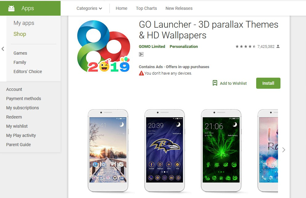 go launcher- best themes for android
