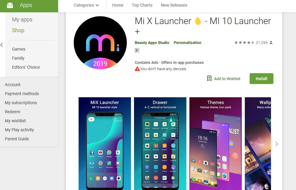 mi x launcher -best themes for android