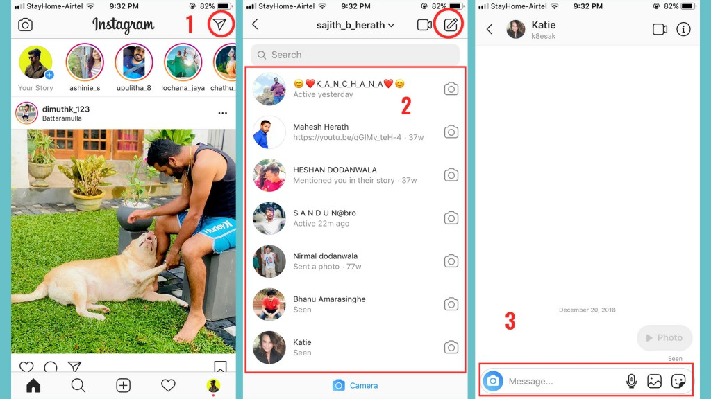 how to send pictures on instagram